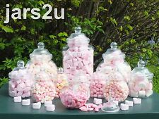 Vintage Retro Plastic Jar Set of 12 Jars/LidsWeddings Buffets Parties-Screw Lids