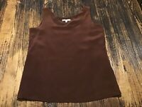 ST. JOHN WOMEN'S BROWN 100% SILK SLEEVELESS TANK TOP CAMI BLOUSE SZ S,FULL LINED