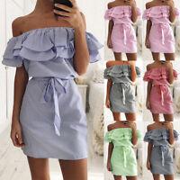 2018 Ladies Women Summer Casual Beach Mini Dress Ruffle Off Shoulder Clubwear