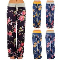 Women Comfy Stretch Floral Print Drawstring Palazzo Wide Leg Lounge Lady Pants