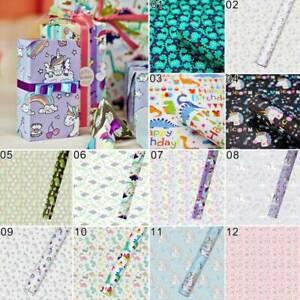 Birthday Wrapping Paper Roll  70*50cm  Pink Lilac Unicorn and Rainbows tuI$^