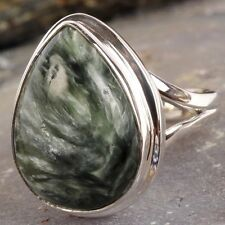 Genuine .925 Silver Natural Green SERAPHINITE RING ~ Size 5.75 ~ 6.5g / .23oz