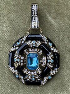 Stunning Heidi Daus Black Enamel, Clear, and Blue Rhinestone Pendant