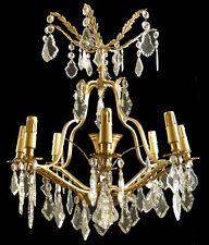 Ant French solid bronze & crystal chandelier Original gilt bronzes crystal prism