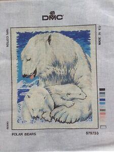 DMC - LONG STITCH ARCTIC FAMILY 579733 - POLAR BEARS~UNWORKED CANVAS LONGSTITCH