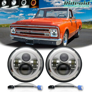 "Pair 7"" Inch Round LED Headlights Halo Angel Eyes DRL for Chevy Truck Camaro C10"