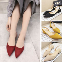 Women Summer Casual Sandals Pointed Toe Slingbacks Block Low Heels Shoes Suede