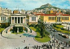 Athens Greece National Library pm old cars Postcard