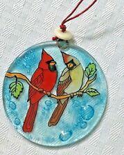 Cardinal Couple Glass Ornament