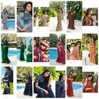 Elegante Noche Étnico Ropa Fiesta Boda Sari Indio Bollywood Sari de Diseño