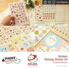 Molang Sticker V4 Stickers Kids Craft Card Making Party Favor New Cool 10 sheets