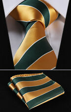 "TS4026D8 Green Gold Striped 3.4"" Silk Woven Men Tie Necktie Handkerchief Set"