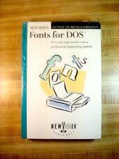 """Vintage New Vision Fonts for DOS Sealed Big Box Software IBM (3.5"""" 720K Disks)"""