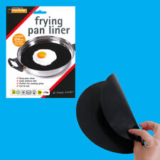 12x 24cm Reusable Non-Stick Black Frying Pan Liner for Healthy Cooking