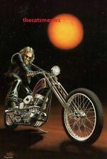 David Mann Art Motorcycle Poster Kick Start Biker Print