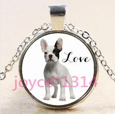 French Bulldog Cabochon Tibetan silver Glass Chain Pendant Necklace #4197