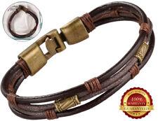 Genuine Surfer Leather Bracelet Mens Wristband Braided Rope Bronze Buckle Wrap