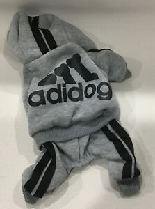 Scheppend Adidog Cat/Puppy Pet Clothes Hoodie Jogging Suit Gray Sz  XS NEW F/S