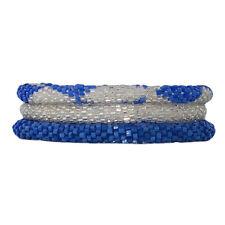 Chiffon Blue and Silver Crocheted Beaded Bracelet Set, Handmade in Nepal