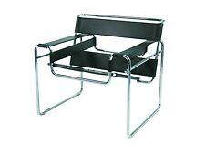 Knoll International Wassily Marcel Breuer Leder schwarz Lounge Sessel