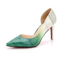 Women's Mixed Colors Print Pointed Toe Stilettos High Heels Shoes Dress Pumps