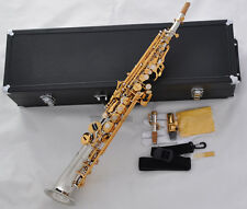 Professional Silver Gold Soprano saxophone Saxello Sax High F#G key Leather Case