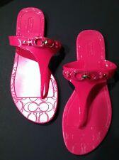 Coach Pink Fuschia Patent Flat Sandal Flip Flops Shoes Sz 8