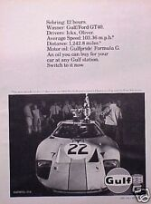1969 69 Gulf Oil Ford GT 40 GT40 ORIGINAL Vintage Ad  C MY STORE   5+= FREE SHIP