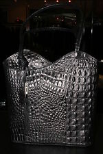 Wavy Croco Italian Leather Hand Bag Convertible to Back Pack