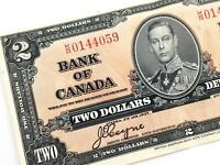 1937 Canada 2 Dollar KR Circulated Canadian Coyne Towers Banknote M820