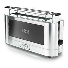 Russell Hobbs 2-Slice Glass Accent Long Toaster, Black & Silver, Trl9300Bkr