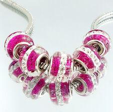 Hot 5pcs Lampwork Murano Glass Rhinestone Loose European Charm Beads 10x15mm