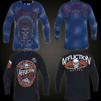 AFFLICTION Mens THERMAL Shirt REVERSIBLE American Customs APACHE Biker BLUE $68