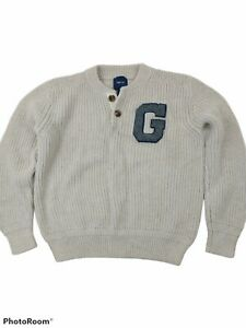 Gap Sweater Large (10) Boys Button Mock Neck Varsity Ribbed Cable Knit Oatmeal