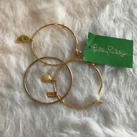 Lilly Pulitzer NWT Women's 3 Bangle Bracelet Set, Gold Metallic, One Size