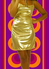 G653✪ Glam Rock Party Abend Kleid Disco Queen Dancing gold Glitter Gr. 38
