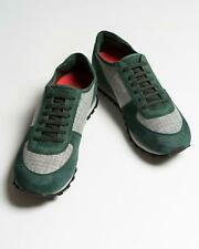 Isaia $795 NIB Green Gray Suede Cashmere Runner Sneakers Shoes 44 eu 11 US