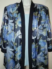 R&M Richards 2fer Shirt 20W P Tank Top Open Front Dressy Blue Floral Layered 100