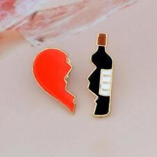 Creative Cartoon Metal Red Heart Wine Bottle Corsage T-shirt Pins Jewelry CA