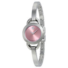 Movado Rondiro Pink Dial Stainless Steel Bangle Ladies Watch 0606797