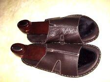 Donald J Pliner MISMATCH Mens 8 / 9 Dark Brown Leather Slides Sandals - SPAIN