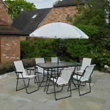 CREAM 8 PIECE GARDEN FURNITURE OUTDOOR PATIO DINING SET / PARASOL / 6 SEATER