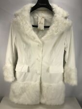 Faux Fur Womens M Coat Jacket White Flower Buttons Korea NWT