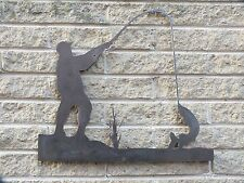 Fisherman in Mild Steel for Weathervanes or Features in Gates