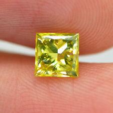 Loose Princess Diamond 1 Carat Fancy Yellow VS1 Natural Enhanced 5.14X5.12 MM