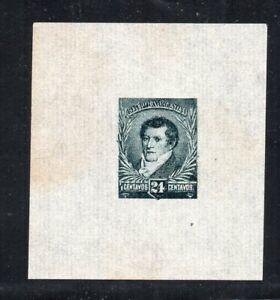 1892 ARGENTINA RARE 24c BELGRANO GREEN PROOF MINT, TREMENDOUS MARGINS