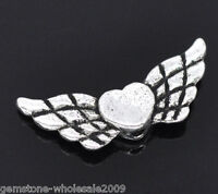 50PCS Wholesale Lots Silver Tone Heart& Wing Spacer Beads 22x9mm GW