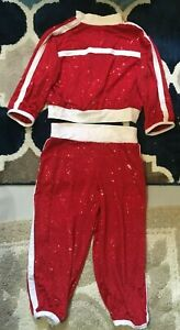 COSTUME GALLERY LARGE CHILD DANCE COSTUME RED SEQUIN JACKET AND PANTS