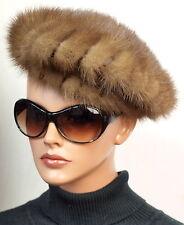 Mütze Pelz Barett Nerz Vintage 60er 70er Baskenmütze Beige Braun Boutique Canada