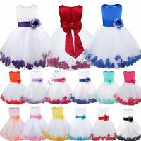 Petals Flower Girl Wedding Formal Jnr Bridesmaid Party Pageant Princess Dress UK